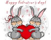 Vector Illustration mit zwei nettes Kaninchen und Herz Stockbild