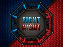 MMA octagon cage. Vector illustration of MMA cage.Mixed martial arts octagon cage, top view Royalty Free Stock Photos