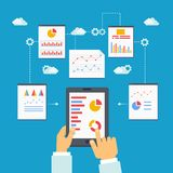 Vector illustration of mobile optimization and analytics Stock Images