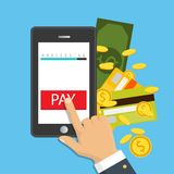 Smartphone wireless money transfer. Flat design. Vector illustration. Mobile payment concept. Hand holding a phone. Smartphone wireless money transfer. Flat Royalty Free Stock Photography
