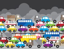 Vector illustration beside model many car stock illustration