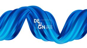 Vector illustration: Modern abstract banner background with 3d twisted blue flow liquid shape. Acrylic paint design. Vector illustration: Modern abstract banner vector illustration