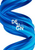 Vector illustration: Modern abstract poster background with 3d twisted blue flow liquid shape. Acrylic paint design. Vector illustration: Modern abstract poster royalty free illustration
