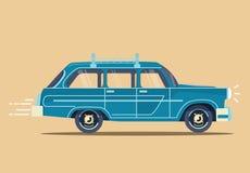 Vector illustration modern blue retro car. Vector modern retro car. Tourism design.Travel by car. Retro travel car Stock Photos