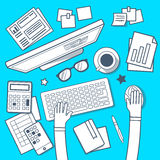 Vector illustration of modern creative workplace in room on blue Royalty Free Stock Photography