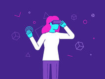 Vector illustration in modern flat style - girl wearing VR heads Stock Photos