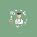 Vector illustration in a modern flat style, health care concept. A doctor in uniform with stethoscope and first aid kid. On line consultation. Flat vector Royalty Free Stock Photos