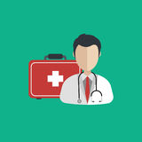 Vector illustration in a modern flat style, health care concept. A doctor in uniform with stethoscope and first aid kid. On line consultation. Flat Royalty Free Stock Images