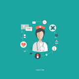 Vector illustration in a modern flat style, health care concept. A doctor in uniform with stethoscope and first aid kid Stock Images