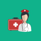 Vector illustration in a modern flat style, health care concept. A doctor in uniform with stethoscope and first aid kid Royalty Free Stock Images
