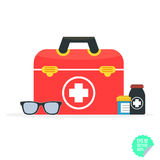 Vector illustration in a modern flat style, health care concept. Medical bag and medical icons. Flat  illustration. Royalty Free Stock Images