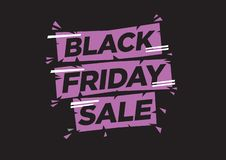 Vector illustration with a modern font with a phase black friday royalty free stock images