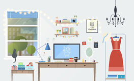 Vector illustration of modern girl workplace in room. Creative office workspace of blogger with elements, objects. items, equipment. Flat minimalistic style Stock Images