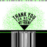 Vector illustration of modern happy friendship day felicitation in fashion geometric style with typography quote. Triangle text sign like pointer, grunge effect stock illustration