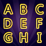 Vector illustration of modern lighting alphabet Stock Photography