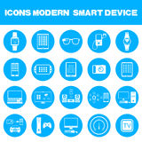 Vector Illustration of Modern Smart Devices. Icons set of smart devices, modern wearable electronics, audio and video gadgets, communication systems and home Stock Photography