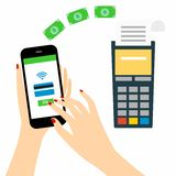 Vector illustration of modern smartphone with processing of mobile payments from credit Stock Photography