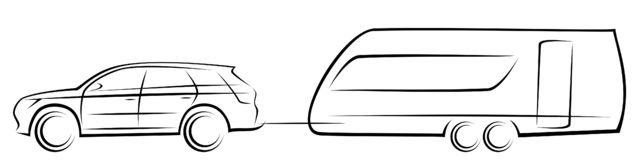 Vector illustration of a modern SUV car towing an aerodynamic trailer for camping royalty free stock photography