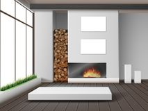 Eco-minimalist style room. Vector illustration of modern white living room with fireplace in eco-minimalist style Royalty Free Stock Photos