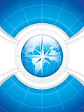 Vector illustration of modern wind rose compass. On earth globe Stock Image
