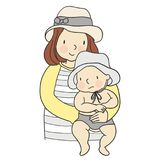 Vector illustration of mom carrying baby in her arms vector illustration