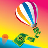 Vector illustration of money hot air balloon. Traveling around the world on hot air balloon, and spending money vector illustration