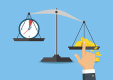 Vector illustration. Money and time balance on the scale. Stock Photos