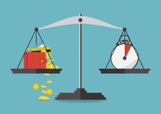 Vector illustration. Money and time balance on the scale. Money and time balance on the scale. Business concept. Vector illustration royalty free illustration