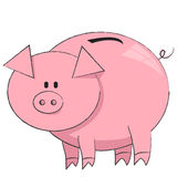 Vector illustration of the moneybox pig on white Stock Photography