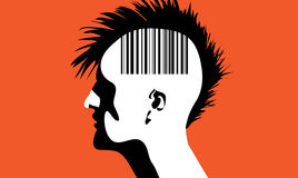 Man with barcode. Vector illustration of a monhawk guy with barcode on his head stock illustration