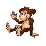 Vector illustration of monkey in cartoon style Royalty Free Stock Images