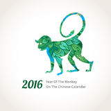 Vector illustration of monkey, symbol of 2016. Vector illustration of monkey, symbol of 2016 on the Chinese calendar. Silhouette of walking monkey, decorated Stock Image
