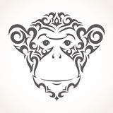 Vector illustration of monkey. Tribal style Royalty Free Stock Images