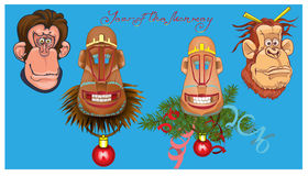 Vector illustration of monkeys. Vector illustration of monkeys, symbol of 2016. Element for New Year design. Image of 2016 year of the monkey Royalty Free Stock Photos