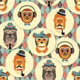 Vector illustration of monkeys, symbol of 2016. Seamless pattern. Trendy hipster style. Element for New Year's design. Image of 2016 year of the monkey royalty free illustration