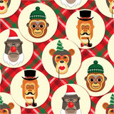 Vector illustration of monkeys, symbol of 2016. Seamless pattern. Vector illustration of monkeys, symbol of 2016. Trendy hipster style. Element for New Year's royalty free illustration