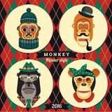 Vector illustration of monkeys, symbol of 2016. Trendy hipster style. Element for New Year's design. Image of 2016 year of the monkey Royalty Free Stock Photos