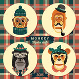 Vector illustration of monkeys, symbol of 2016. Trendy hipster style. Element for New Year's design. Image of 2016 year of the monkey Royalty Free Illustration