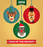 Vector illustration of monkeys, symbol of 2016. Trendy hipster style. Element for New Year's design. Image of 2016 year of the monkey Royalty Free Stock Photo
