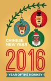 Vector illustration of monkeys, symbol of 2016. Trendy hipster style. Element for New Year's design. Image of 2016 year of the monkey Royalty Free Stock Photography