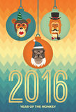 Vector illustration of monkeys, symbol of 2016. Trendy hipster style. Element for New Year's design. Image of 2016 year of the monkey Stock Photography
