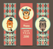 Vector illustration of monkeys, symbol of 2016. Trendy hipster style. Element for New Year's design. Image of 2016 year of the monkey Stock Images