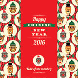 Vector illustration of monkeys, symbol of 2016. Trendy hipster style. Element for New Year's design. Image of 2016 year of the monkey Royalty Free Stock Images