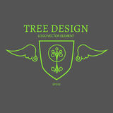 Vector illustration. Mono Line Logo Design. Tree, Shield and Wings. Royalty Free Stock Images