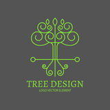Vector illustration. Mono Line Logo Design. Tree, Shield and Wings. Royalty Free Stock Photo