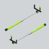 Vector illustration monopods with phones for selfie. Selfie stick.  Flat 3d vector isometric illustration. An extensible. Selfie stick with an adjustable clamp Royalty Free Stock Images