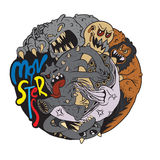Vector illustration of Monster fight club, Flat design Royalty Free Stock Image