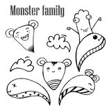 Vector illustration of Monsters and cute alien friendly, cool, cute hand-drawn monsters collection , Doodle Design Elements Royalty Free Stock Image