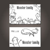 Vector illustration of Monsters and cute alien friendly, cool, cute hand-drawn monsters collection , Doodle Design Elements Royalty Free Stock Photography