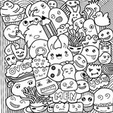 Vector illustration of Monsters and cute alien friendly, cute hand-drawn Royalty Free Stock Photo
